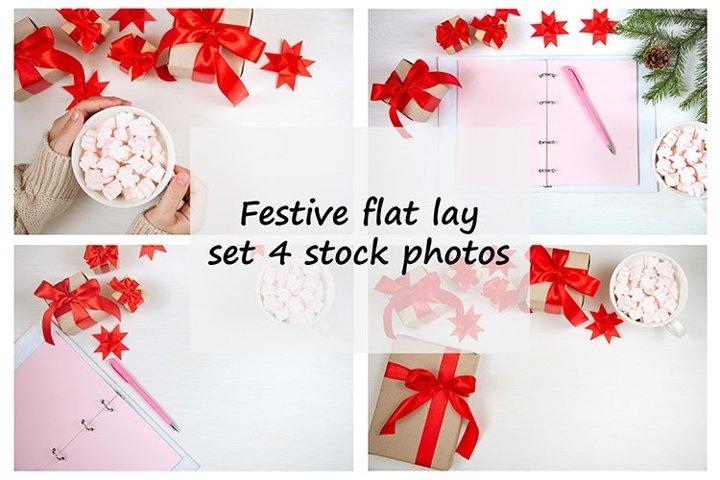 Festive flat lay, set 4 stock photos