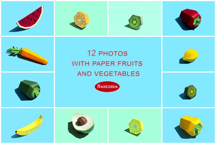Paper fruits and vegetables with shadow