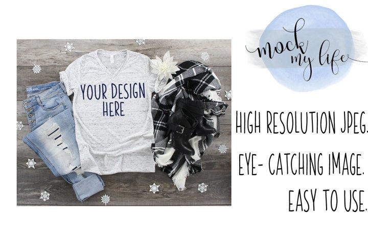 Mockup Bella Canvas Shirt / Christmas Flat Lay / White Marbl