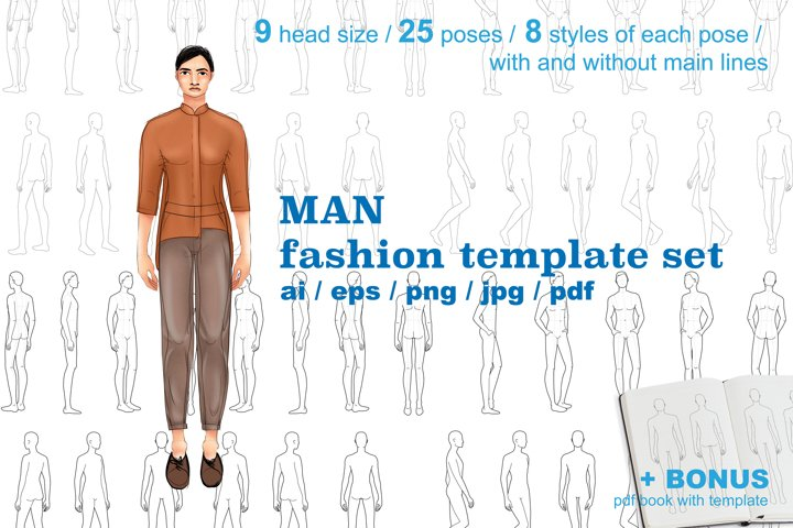 Men fashion figure template set with 25 poses in 9 head