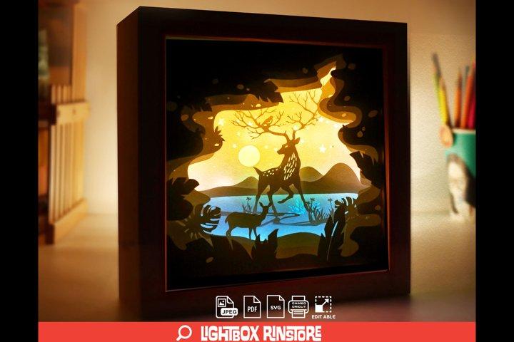 #120 Deer Spirit, 3D Shadow box paper cut lightbox