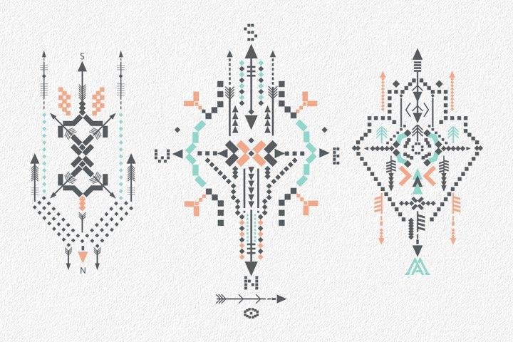 Boho totem. Sacred geometry example 8
