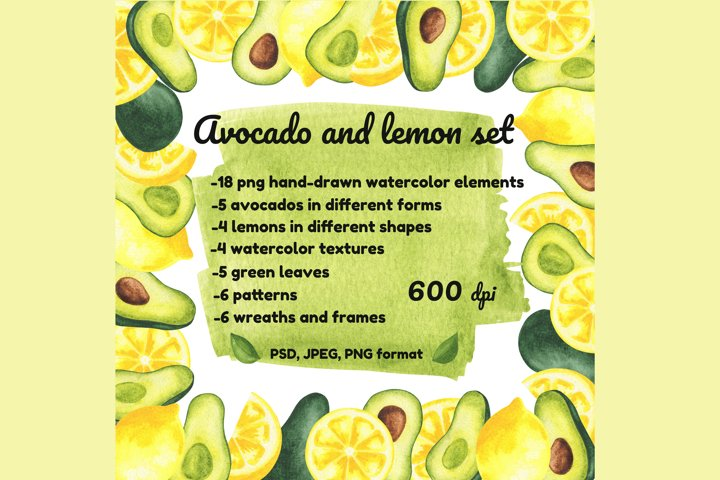 Avocado and lemon set