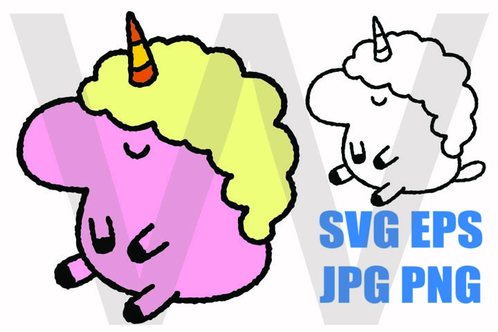Fluffy Unicorn - SVG-EPS-JPG-PNG