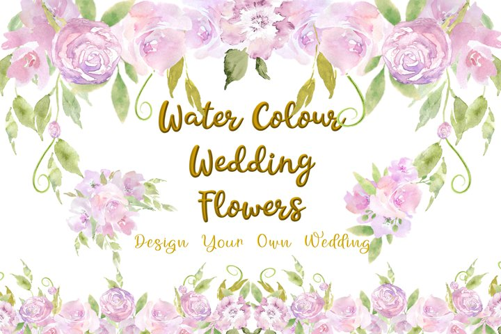 Water colour Wedding Flowers CLipart Kit Commercial Use