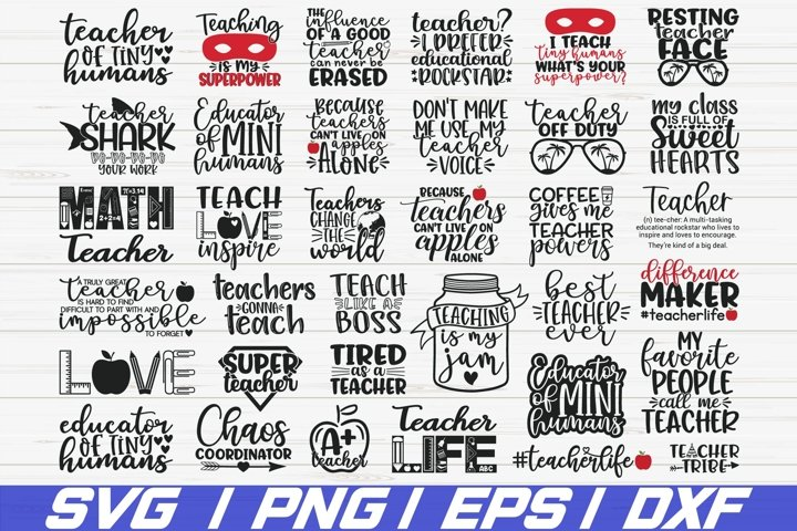 Teacher SVG Bundle / 35 Designs / Cut File / Cricut / DXF