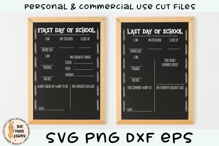 First & Last Day Of School Chalk Board SVG