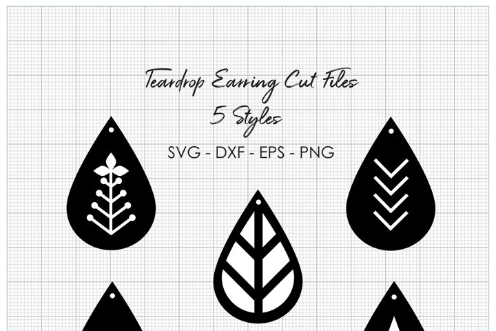 Teardrop Earring Cut Files - 4 File Types Included - SVG EPS DXF PNG