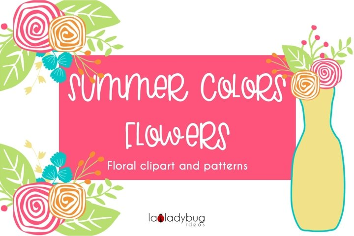 Summer colors flowers. Clip art and digital papers collection.