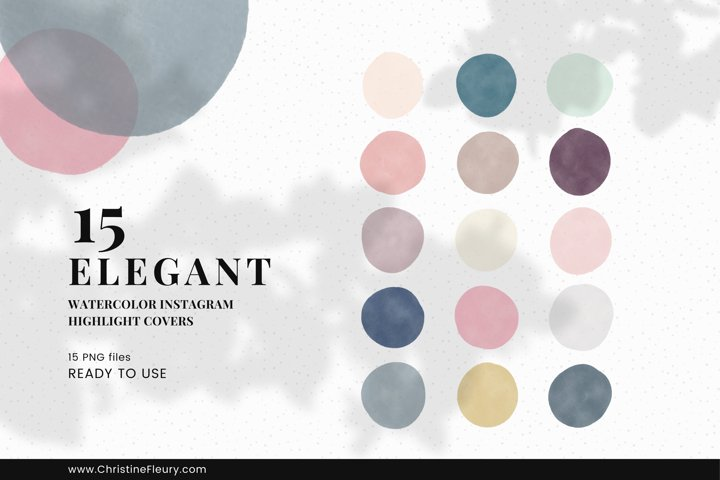 Watercolor Instagram Story Highlight Covers - Elegant