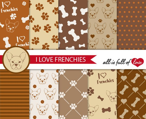 I Love Frenchies Digital Paper French Bulldog Background Patterns in Brown