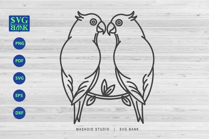Parrot SVG, Pair Of Parrot Clipart, Parrot with flower cut f