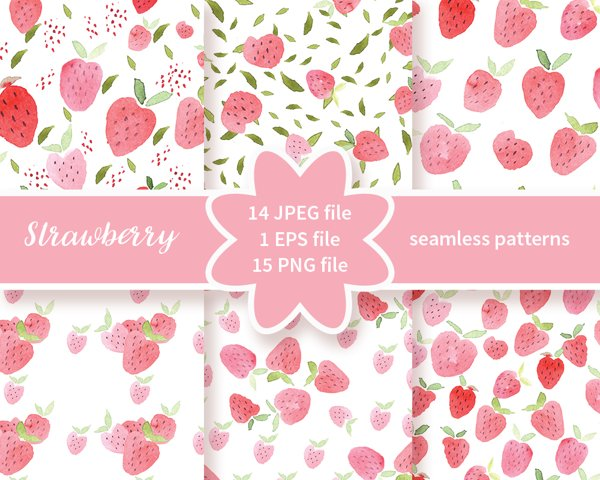 Strawberries Handpainted, Watercolor Fruit Digital Paper for Scrapbooking, watercolor hand painted papers, strawberries pattern