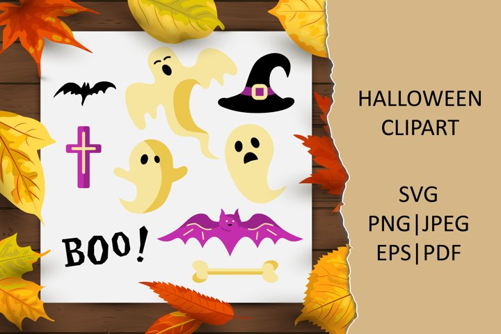 Halloween clipart with ghosts, bat, witch hat SVG PNG EPS