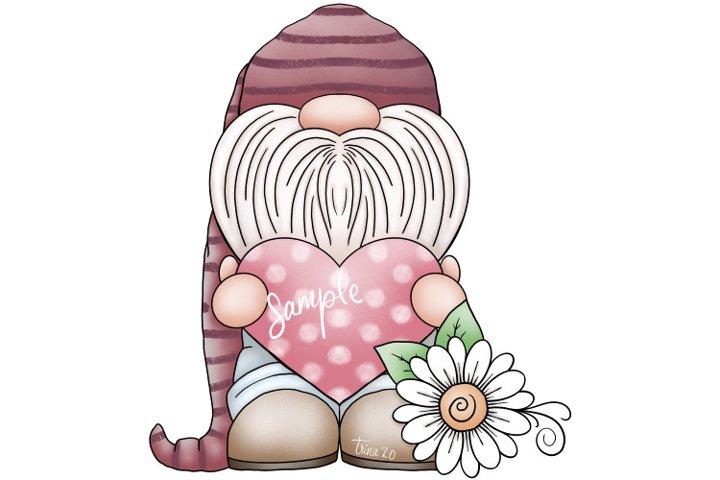 XL 12-inch - Valentines Day Gnome & Daisy - Clip Art Design