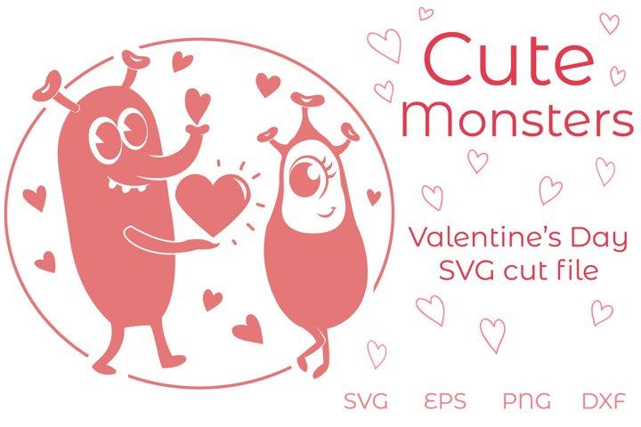 Cute Monsters SVG - Valentine cut file