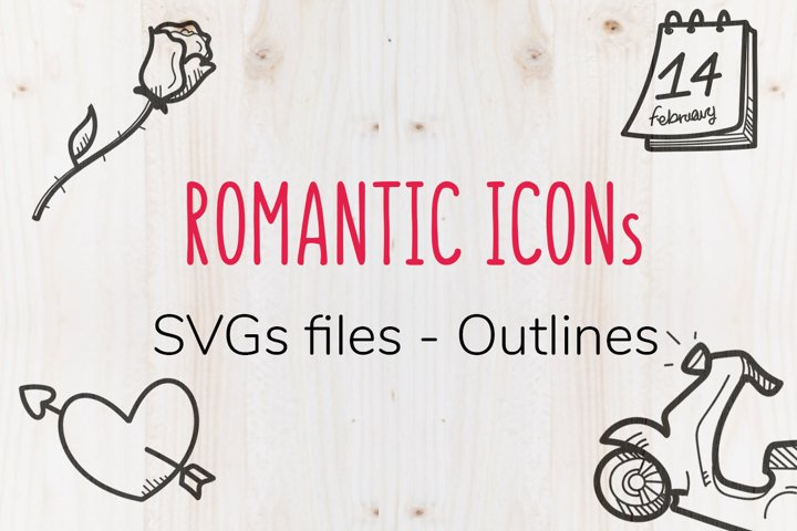 Romantic me - 42 SVG outline Icons by Tana della Tarma
