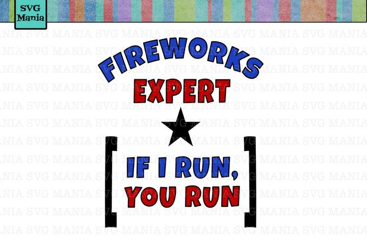 Funny Fourth of July SVG File, Fireworks Expert SVG File, July 4th SVG Cut File, Funny Fireworks SVG