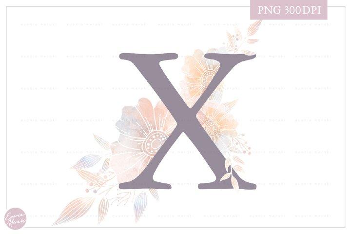 MONOGRAM Letter X Elegant Floral Monogram - Flower initials