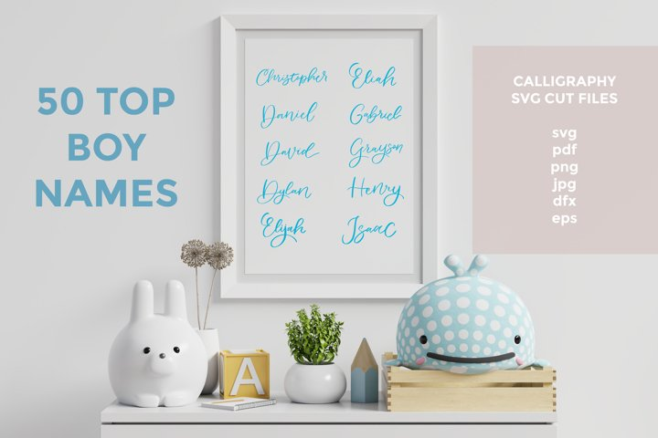 50 Top Boy names | Handlettered | Svg cut files