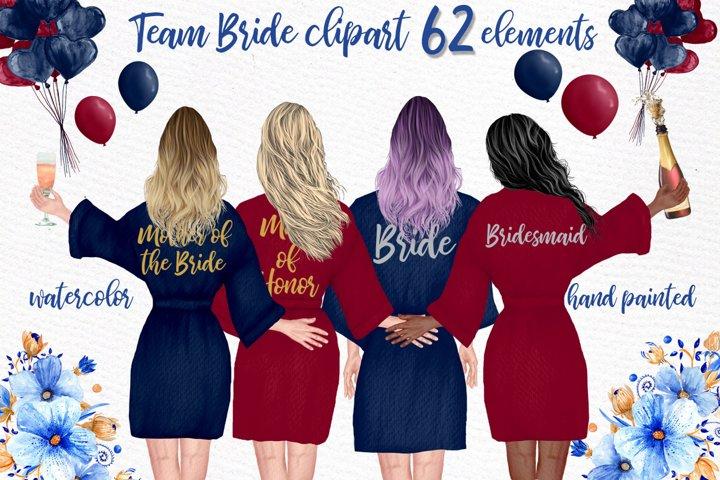 Bridesmaid Robes clipart Wedding cliparrt Hen party clipart