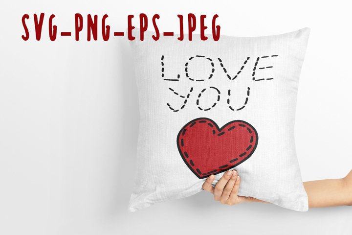 love you quote and heart SVG and PNG file