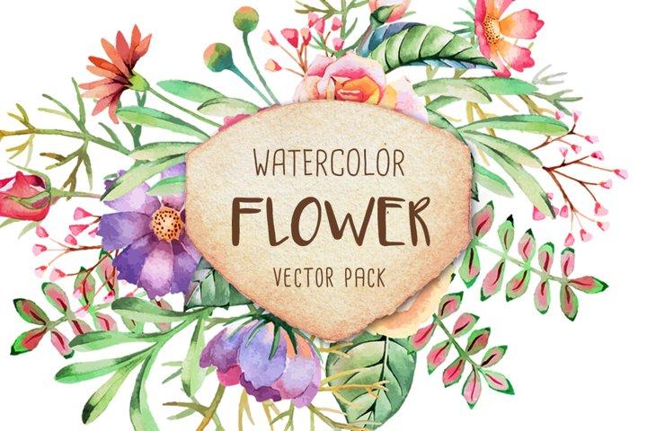Watercolor Flower Vector Pack