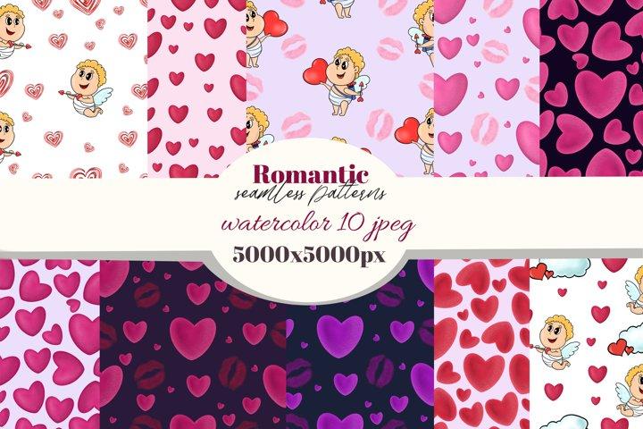 Valentines seamless pattern.Cute Cupid, hearts, lip prints.