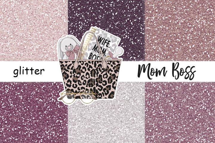 Mom Boss GLITTER Blogger Fashion Clipart Sticker JPEG files