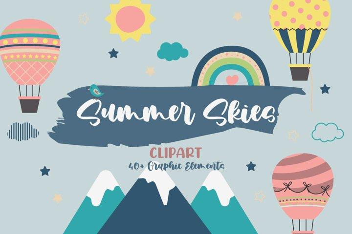 Summer Skies Illustration Vector Clip Art