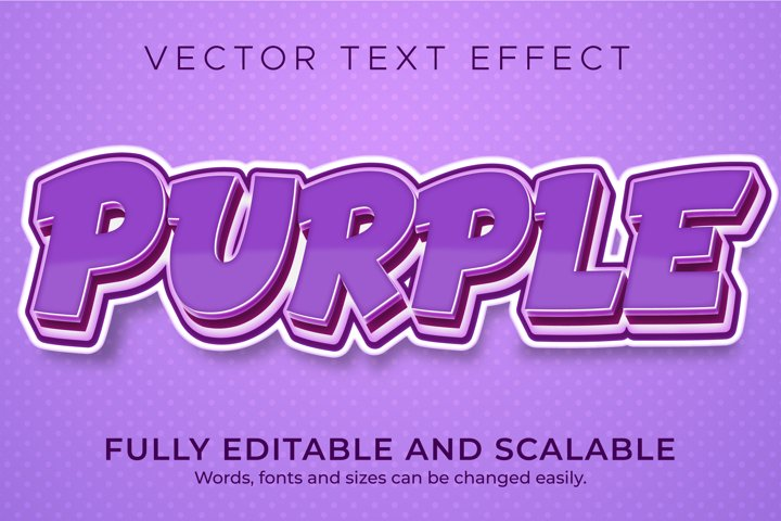 Purple Cartoon text effect, editable comic and fun text