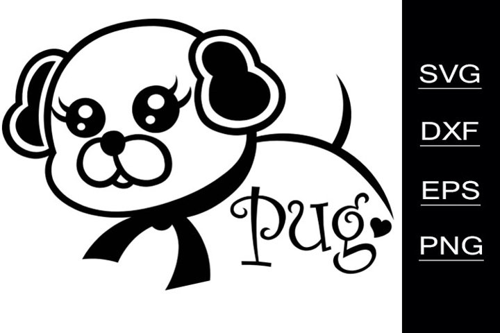 Pug Dog SVG cutting files