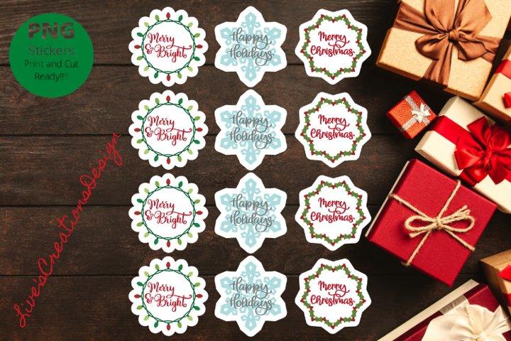 Merry Christmas Print & Cut Stickers