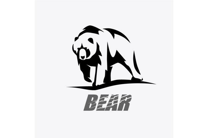 bear stylized vector silhouette, logo template