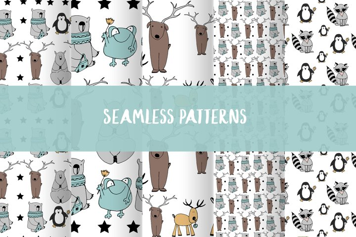 Animals & patterns for baby nursery Cute baby illustrations example 4