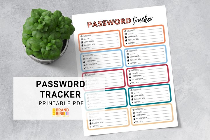 Password Tracker Printable - Passwords Security Template PDF