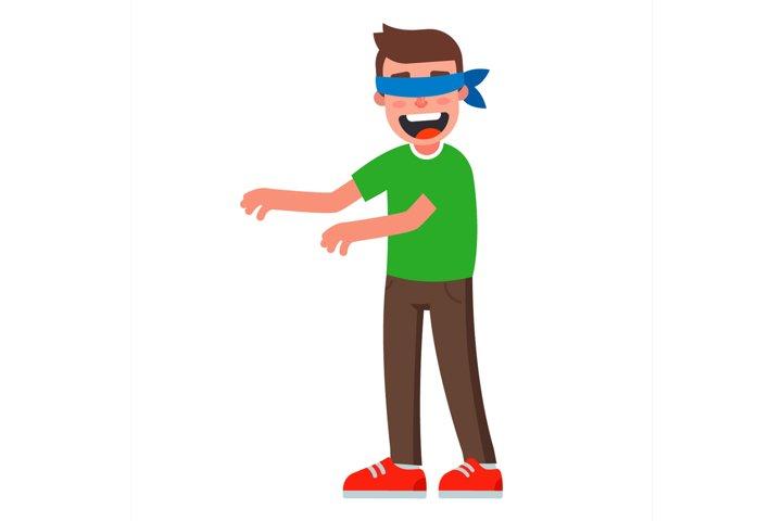 man blindfolded. blue headband. flat vector