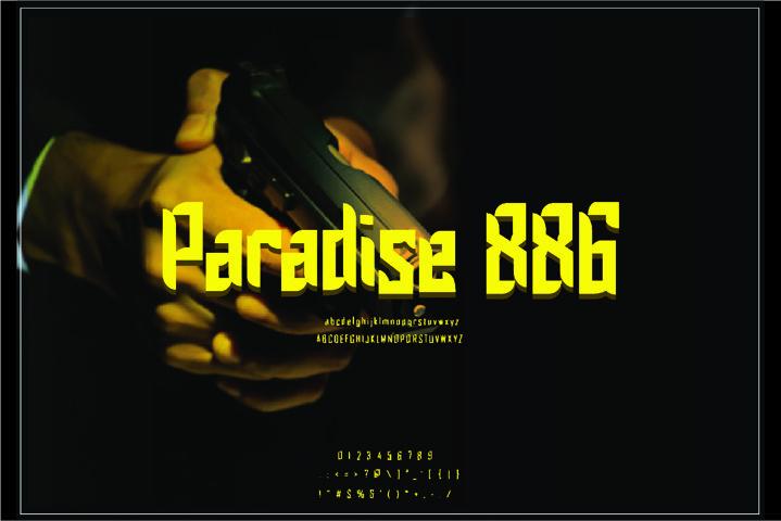 Paradise 886 Font display