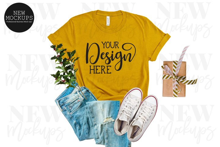 Christmas Mustard Bella Canvas 3001 T-Shirt Mockup