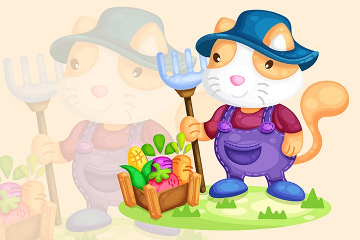 cute cat farmer harvesting vegetable illustration