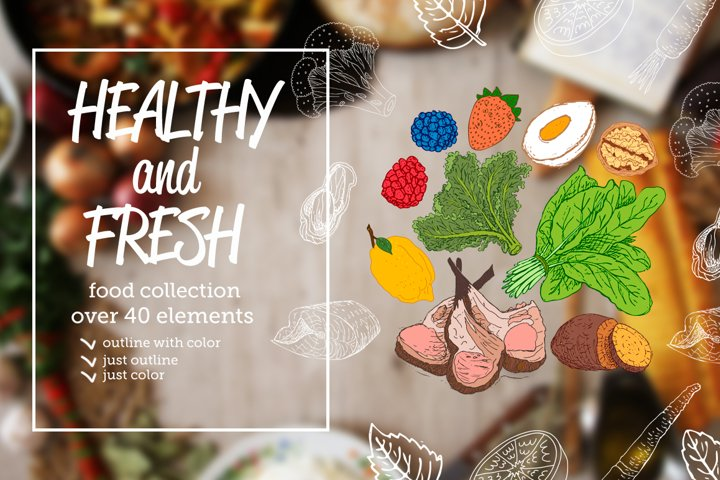 Healthy and Fresh. Food collection