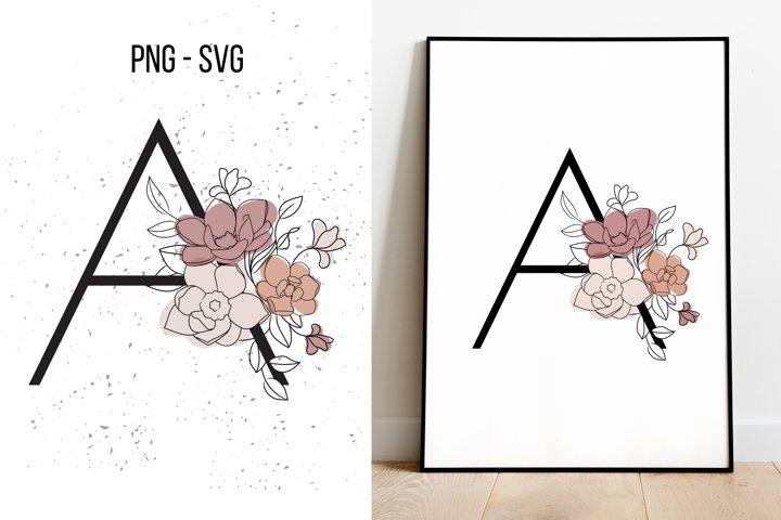 A letter Floral Monogram SVG