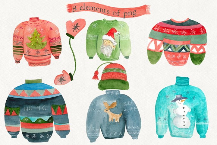 Ugly sweater, Watercolor Holiday clipart