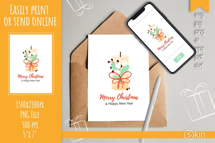 Merry Christmas and Happy New Year printable card, svg