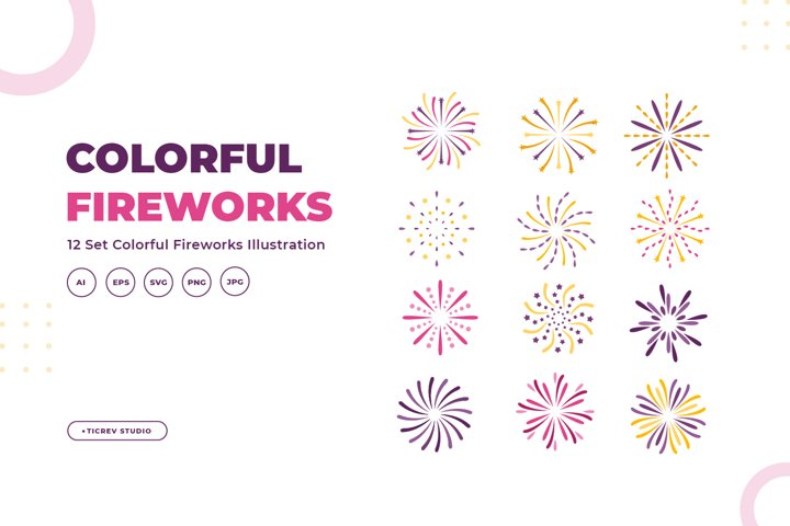 Set of colorful fireworks illustration