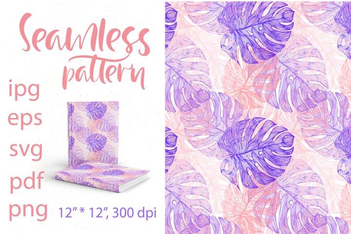 Tropical Leaves. Digital Paper SVG.Seamless pattern Monstera