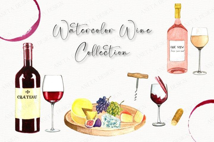 Wine & Cheese Watercolor Clipart, Wine glasses clipart