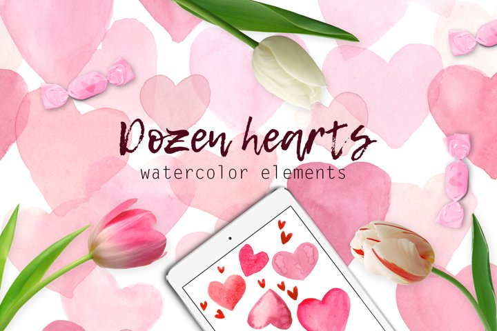A dozen hearts in watercolor in pink colors