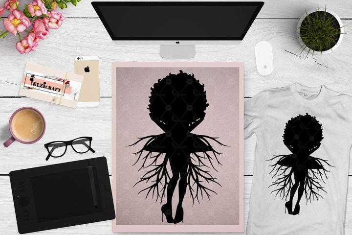 Afro Woman Roots, Africa Hair, Black History Month SVG File