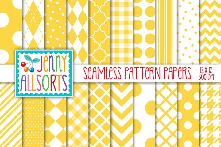 Yellow & White Seamless Digital Repeat Geometric Patterns